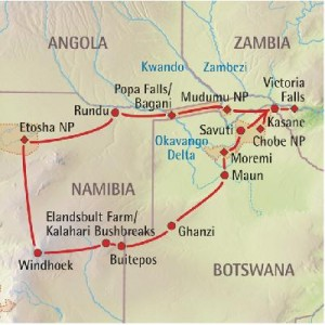 Botswana - Landkarte MW-Tour